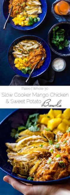 Slow Cooker Mango Chicken and Sweet Potato Bowls - This approved slow cooker mango chicken has a sweet, tropical sauce and sweet potatoes! It's a healthy, one pot meal that's perfect for busy (Quinoa Recipes Slow Cooker) Healthy Slow Cooker, Slow Cooker Recipes, Crockpot Recipes, Cooking Recipes, Whole30 Dinner Recipes, Paleo Chicken Recipes, Potato Recipes, Easy Whole 30 Recipes, Easy Healthy Recipes