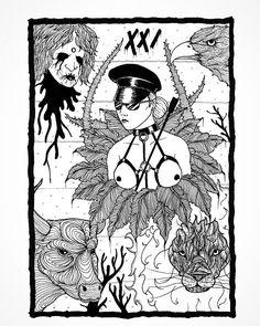 The World. Part of  my collab with @justellvonk .   #art #occultism #occult #darkart #darkartists #surrealism #blackwork #weird #ink #inkfeature #tarot #artwork #illustration #illustrationart #montrealartist #iblackwork #blxckink #horror #pagan #fetish #dominatrix #world #magic #blackmetal