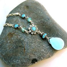 Turquoise and Diamond Crystal Vintage Style by PETALTOMETALJEWELS, $38.00