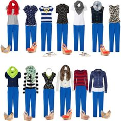 What to Wear with Bright Blue Pants / Capsule . What to Wear with Bright Blue Pants / Capsule . Outfits Blue Jeans, Blue Pants Outfit, Casual Outfits, Cute Outfits, Fashion Outfits, Cobalt Blue Pants, Bright Blue Pants, Royal Blue Leggings, Royal Blue Jeans