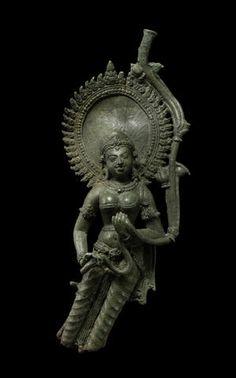 A copper alloy female attendant, Northeast India or Bangladesh, Pala period, 8th/9th century