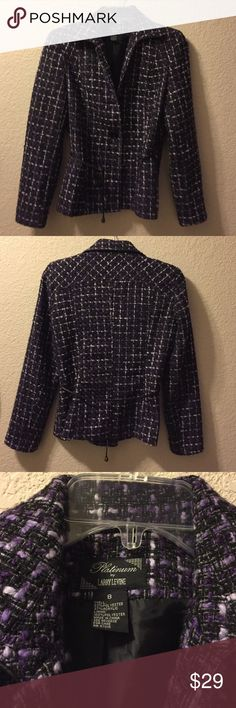 Gorgeous purple Platinum by Larry Levine sz 8 Size 8 Platinum by Larry Levine. Look amazing in this beautiful purple 2 button jacket. Wear as a blazer with trousers or a skirt. OR wear as a jacket with cute black or white jeans. 63% polyester 37% acrylic. Larry Levine Jackets & Coats Blazers