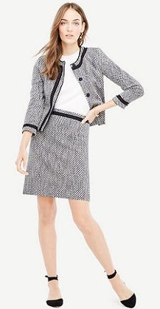 Love this simple navy tweed skirt suit -- even if the skirt is a leeeetle bit too short. (It comes in talls!)