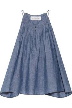 APIECE APART - Galisteo Smocked Cotton-chambray Top - Blue - US10