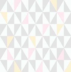 Papel de parede coleção geometria retângulos branco, rosa bebê e amarelo - PA7807