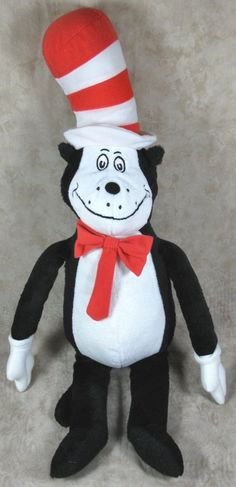"Dr Seuss 22"" Cat in the Hat Plush Kohls Cares Black White Stuffed Animal  #Kohls"