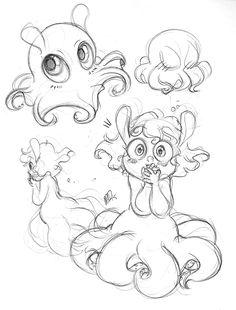 dumbo octopus done in ballpoint pen Kraken Octopus, Dumbo Octopus, Octopus Art, Octopus Mermaid, Octopus Sketch, Octopus Drawing, Octopus Illustration, A Level Art Sketchbook, Arte Sketchbook