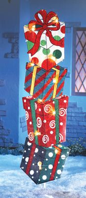 Lighted Stacked Christmas Packages Garden Stake