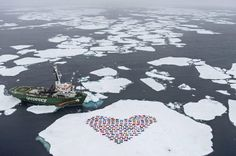 Greenpeace activists conceived this demonstration in September 2012 on an ice...