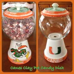 DIY Candy Dish - Canes- Miami Hurricanes- College Teams - football - sports- the u