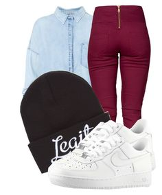 """""""Too legit to quit , basic fashion style, but all white Nike air force 1s low."""" by trillest-fashionx ❤ liked on Polyvore featuring Pull&Bear, Pieces, Neff, NIKE, denim, basic, WhatToWear and beanies"""