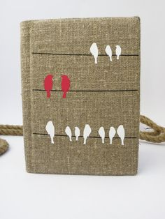 Wedding rustic guest book burlap Linen Personalized Birds crows on wire Burgundy Red and white
