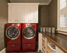 Red Washer And Dryer Love The Wall Color But It Might Be Too Dark For My Small Narrow Laundry Room Nice Butcher Block Counter Top With