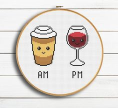 Cross Stitch Kitchen, Modern Cross Stitch, Geek Cross Stitch, Cross Stitching, Cross Stitch Embroidery, Coffee Wall Art, Funny Cross Stitch Patterns, Handmade Shop, Cool Things To Buy