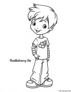 Free Printable Strawberry Shortcake Huckleberry Pie Coloring Pages For Kids