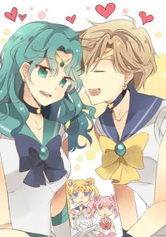 Sailor Neptune and Sailor Uranus with Sailor Moon and Sailor Chibi Moon looking on by chocho(チョチョ) Sailor Uranus, Sailor Neptune, Sailor Moon Art, Sailor Moon Crystal, Sailor Mars, Anime Girls, Shoujo Ai, Dancing In The Moonlight, Sailor Moon Character