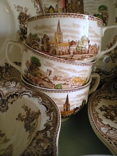 English transferware~Johnson Brothers Old Britain Castles in Brown Multi