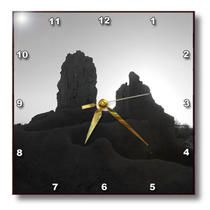 3dRose - Jos Fauxtographee Realistic - A silhouette of a monument in Casa Grande, Arizona in Black and White - Wall Clocks