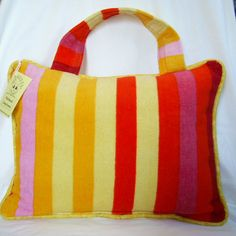 beach pillow red and yellow stripe travel pillow. $25.00, via etsy.