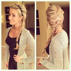"Kelsey: ""🎶 The cold never bothered me anyway 🎶.no it totally does. Yes, I did an Elsa braid. 😊👑💕"" Gah, ""the Kelsa Braid,"" as Darla Grimm calls it, is adorable and she freaking looks like Elsa! Loose Braid Hairstyles, Heatless Hairstyles, Casual Hairstyles, Party Hairstyles, Everyday Hairstyles, Wedding Hairstyles, Loose Side Braids, Hair Due, Braids With Beads"