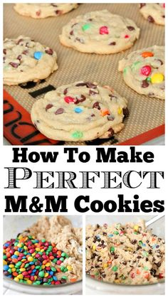 How To Make Perfect M&M Cookies - The Best Chocolate Chip Cookies! Theses are the Perfect M&M Cookies! I like to call these my no-fail cookie recipe, they come out perfect every single time. Just Desserts, Delicious Desserts, Dessert Recipes, Yummy Food, Delicious Cookies, Dinner Recipes, Tasty, Smores Dessert, M M Cookies