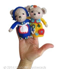 Family BEAR Finger Puppets PDF Email Knit by HandMadeAwards