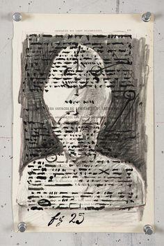 William Kentridge, Carnets d'Egypte: Proprietes des Corps Incandescents, 2010, Charcoal on found page, 23.5 x 24.5cm