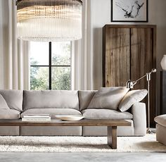 The Petite Cloud Cube Modular Sofa Living Room Sofa, Living Room Furniture, Living Room Decor, Restoration Hardware Living Room, Oak Panels, Deco Table, Living Room Inspiration, Home And Living, Living Room Designs