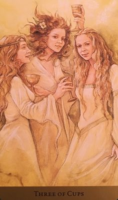 Three Of Cups, from the Tarot Of The Hidden Realm, by Barbara Moore, Artwork by Julia Jeffrey