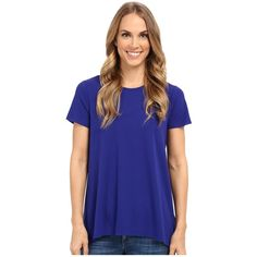 Vince Camuto Short Sleeve High-Low Hem Top w/ Woven Back Women's T... ($69) ❤ liked on Polyvore featuring tops, t-shirts, t shirts, blue tee, braided t shirt, woven shirt and short sleeve woven shirt