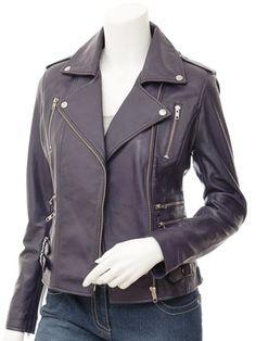 Ladies Purple Biker Leather Jacket: Toronto