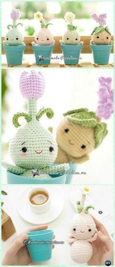Crochet Amigurumi Spring Bulb Flower Doll Free Pattern - Crochet Doll Toys Free Patterns
