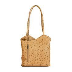 Multi-Way Sandstone Ostrich Leather Shoulder Bag/Backpack