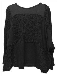 AKH Fashion Lagenlook weites geknittertes Shirt in schwarz XXL Mode bei www.modeolymp.lafeo.de