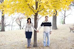 Autumn engagement photo by Rivets and Roses. #wedding