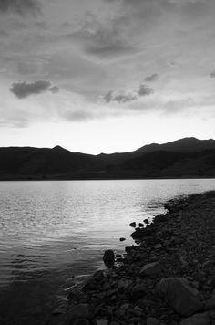 Black and white lake side utah