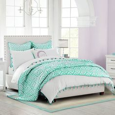 PB Teen Raleigh Nailhead Bed, Twin, White-Twill ($899) ❤ liked on Polyvore featuring home, furniture, beds, white twin headboard, padded headboard, white queen headboard, twin headboards and queen bed