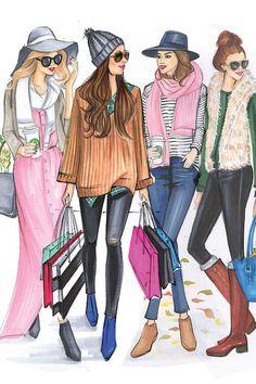 Fashion Illustration Tutorial, Fashion Illustration Sketches, Fashion Sketches, Fashion Art, Girl Fashion, Unique Fashion, Sports Nautiques, Logo Vintage, Fashion Design Drawings