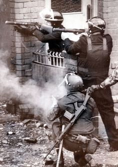 Police and Troops open up during riots in Belfast following the death of IRA hunger striker Bobby Sands in 1981