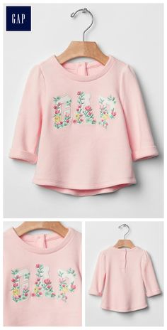 Floral logo sweatshirt Floral Logo, Baby Gap, New Baby Products, Little Girls, Style Me, Dressing, Slim, Crop Tops