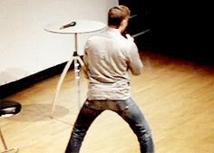 "gif of jensen imitating jared riding a horse. ""i kid you not, jared probably just could've got on it like this.""Jared goes into super bow legged mode ."