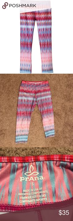 Prana Roxanne Capri Yoga Leggings Super cute yoga pants in Festival Pink pattern. Worn a couple of times. Almost like new! Colors look amazing and stitching is in great condition. Prana Pants Leggings
