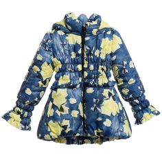 Girls Blue Jacket with Yellow Rose Print, Miss Blumarine, Girl