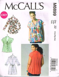 McCall's M6899, Sewing Pattern, Misses' Tops, Size Lrg, Xlrg, XXL, Plus Size, Out Of Print by OhSewWorthIt on Etsy