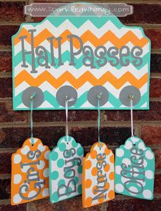 Hall Passes Sign for Classroom by SparkledWhimsy on Etsy, $42.00