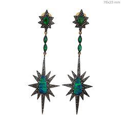 Emerald Opal Dangle Earrings 14k Gold Diamond Pave Star Design Silver Jewelry #Handmade