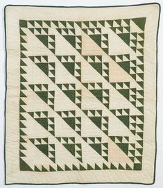 """Dramatic version of a Birds in the Air crib quilt done in a dark green calico. The quilt is in excellent, unwashed condition. Continued use of the triangles to create the sawtooth border was an excellent choice. The white triangles are quilted with squares and the border with double diagonal lines. Measurements are 31"""" x 36"""". Pennsylvania origin; Circa 1880. Old Quilts, Antique Quilts, Small Quilts, Vintage Quilts, Crib Quilts, Diagonal Line, Selling Antiques, Pennsylvania, Cribs"""