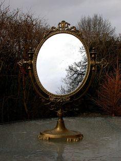 french antique art nouveau mirror vanity make up mirror Victorian brass ornate mirror flower leaf decoration