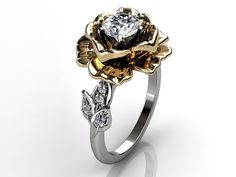 14k two tone white and yellow gold diamond unusual unique floral engagement ring, bridal ring, wedding ring by Jewelice, $1259.99