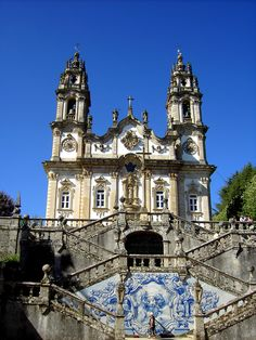 Leading up to the church which sits on top of the hill is an impressive set of 686 stairs, you can see the view looking down. #Portugal #North